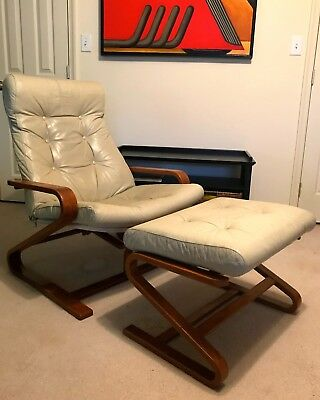 Vintage Mid-Century Danish Modern Leather & Wood Recliner Chair w/Ottoman