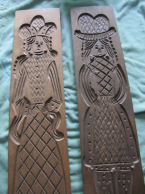 "Pair of Antique or Vintage Wooden Carved Cookie Molds / Presses ~ 29 1/2"" Tall"