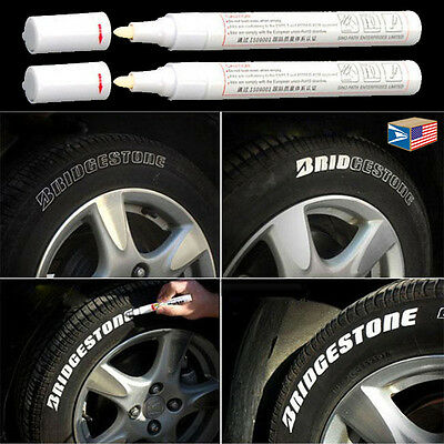 2 LOT TIRE LETTER White PERMANENT PAINT MARKER SIDE WALL WATERPROOF RUBBER PEN!