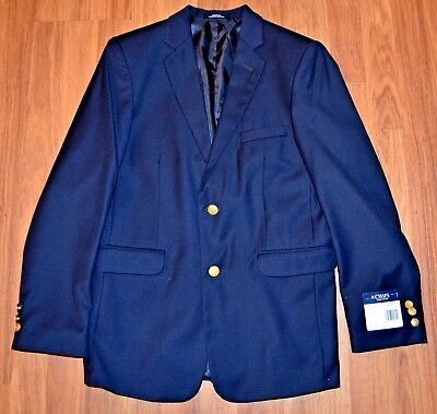 Boy's CHAPS Navy Blue with Gold Buttons Blazer Suit Jacket Sport Coat  8 NWT