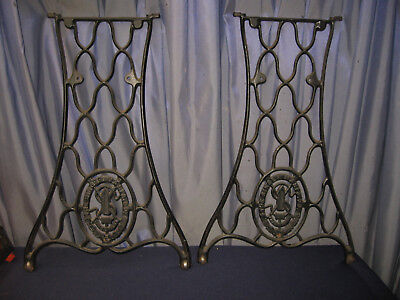 Pair Of Antique Singer Sewing Machine Cast Iron Leg Repurpose Table Garden Stand