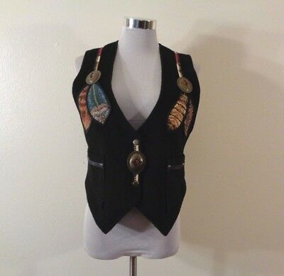 Vintage Coloratura Black Mohair Wool Blend Southwest Feather Appliqued Vest