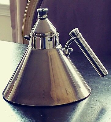 Stainless Tea Kettle Cone Shaped Industrial Alessi Style Made In Italy MCM Retro
