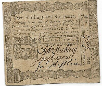 1772 Pennsylvania 2 Shillings 6 Pence Colonial Currency Note