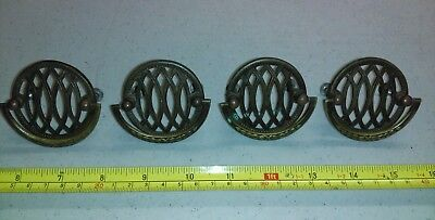 Vintage Ornate Geometric Circle Design Brass Drawer Pulls Handles Lot of 4