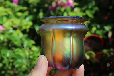 Vintage Petite Iridescent Tiffany Furnace Style Favrile Art Glass Cabinet Vase