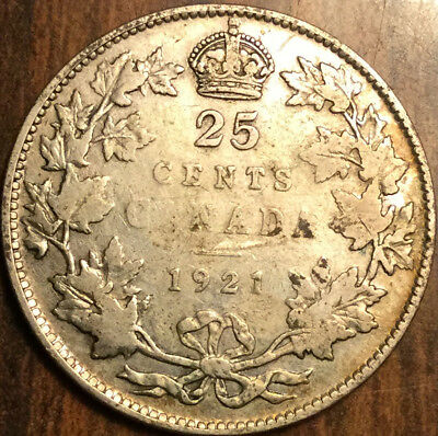 1921 Canada Silver 25 Cents Keydate Coin
