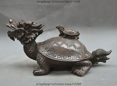 Old China Fengshui Bronze Lucky Dragon Turtle Statue Calligraphy tools Inkstone