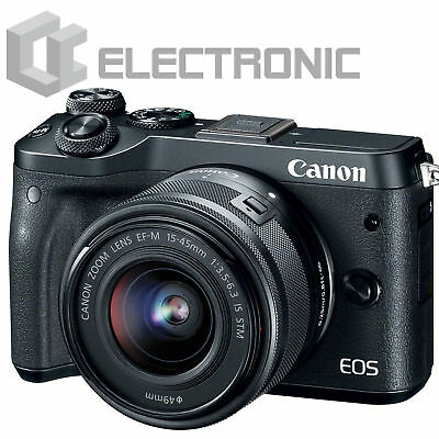 Nuovo Canon EOS M6 Camera w/ EF-M 15-45mm IS STM Lens - Black Nero