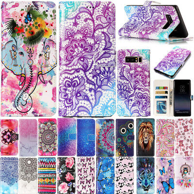 Pattern Magnetic Card Flip Leather Wallet Case Stand Cover For Samsung S6 S7 S8