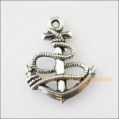 150Pcs Antiqued Silver Tone Tiny Shipping Anchor Charms Pendants 8x11mm