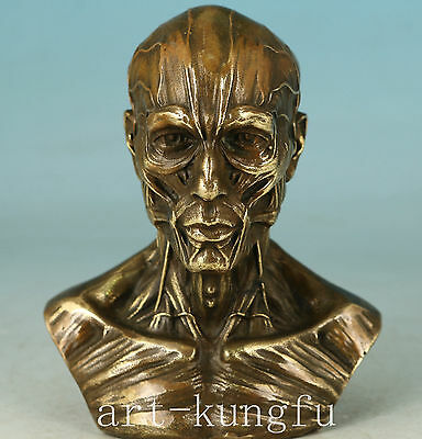 Cool Evil Person Chinese Bronze Collection Handmade Carved Skull Statue Figure