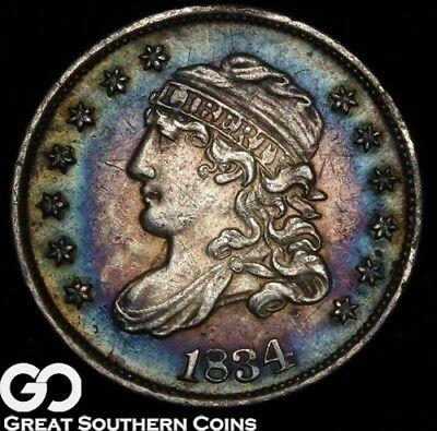 1834 Capped Bust Half Dime, Beautiful Rainbow Color, Nice BU Early Silver Type!
