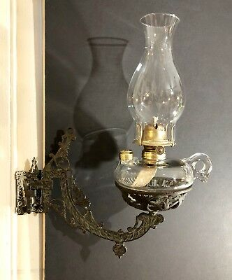 Antique Cast Iron Ornate Wall Sconce With Finger Loop Oil Lamp