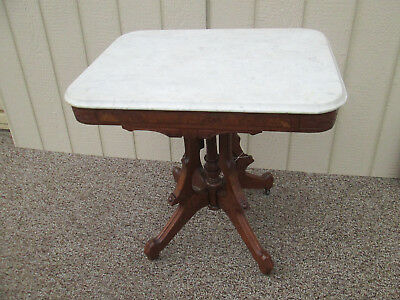 56227 Antique Victorian Walnut Marble Top Lamp Table Stand