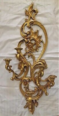 5 ARM Candle WALL SCONCE Ornate Hollywood Regency Gold Home Interiors HOMCO