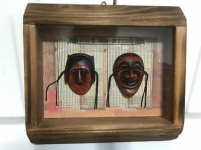 "VTG. 8"" Hand Carved Wood Hahoe Mask Yangban and Bune in Window Wood Frame"