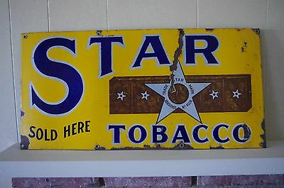 Antique Star Tobacco Sold Here Sign Porcelain Sign - Tobacco Advertisements 1920