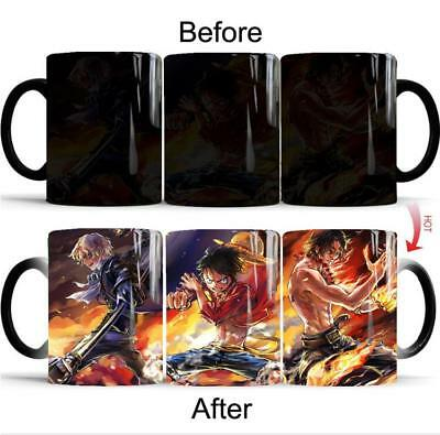 Anime OP One Piece Luffy Heat Changing Mug Coffee Tea Milk Cup With Box Gift