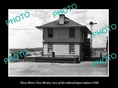 OLD LARGE HISTORIC PHOTO, THREE RIVERS NEW MEXICO RAILROAD DEPOT STATION c1940 1