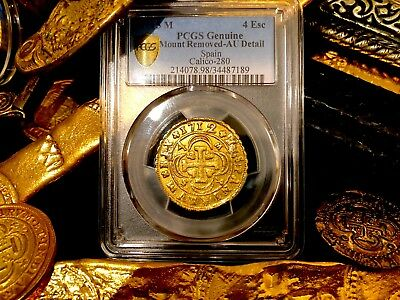 "Spain 4 Escudos 1712 ""rare Only 1 Other Graded"" Pcgs Au Dets Gold Treasure Coin"