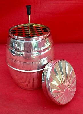 VINTAGE '60s BARREL CIGARETTE DISPENSER MUSIC BOX SILVER-PLATE BAR MAN CAVE MCM