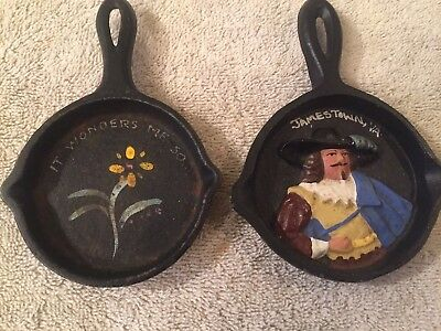 Two Decorative Vintage Cast Iron Mini Skillets With Hand Paintings on Each One