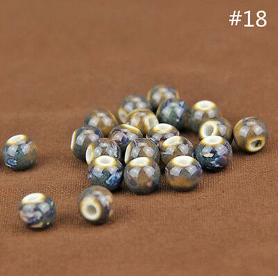 10Pcs Round Ceramic Porcelain Loose Spacer Big Hole Beads Charms 10mm DIY Crafts
