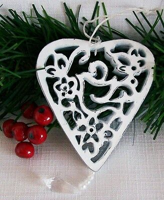 Wooden Filigree Hanging Heart  Cut-out Design White Shabby Chic 3""