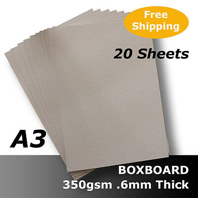 BoxBoard 350gsm .6mm A3 Backing Card ChipBoard x 10 Grey ReCycled 100% #B1068
