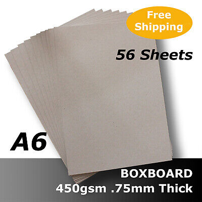 56 x BoxBoard Backing Card 450gsm .75mm A6 Grey 100% ReCycled #B1202 #D1