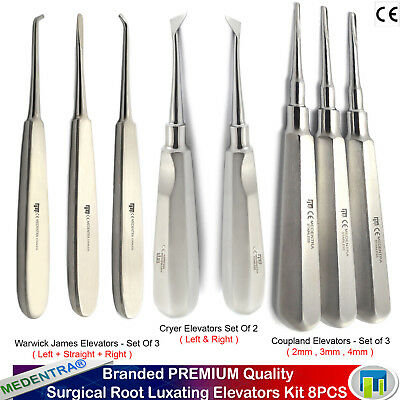 Root Luxating Cryer Broken Tooth Extraction Coupland Elevators Surgical Set 8PCS
