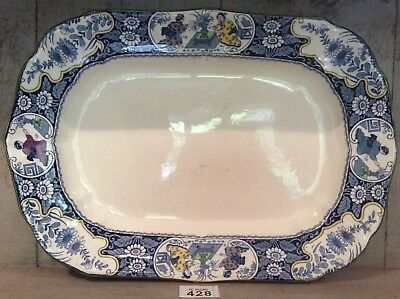 """Antique Wood And Sons Large Meat Platter Buddha Pattern Plate 18"""" By 12.7"""""""