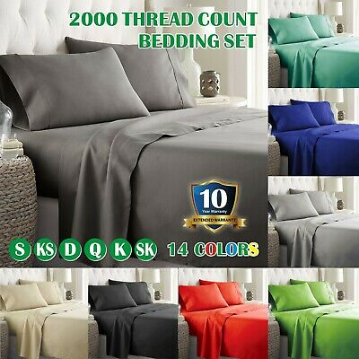1000TC 4PCS Super SOFT Flat Fitted Sheet Sets for King/Queen/Double/Single Bed