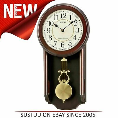 Seiko QXH063B Analogue Pendulum Wall Clock│Westminster Whittington Chimes│Wooden