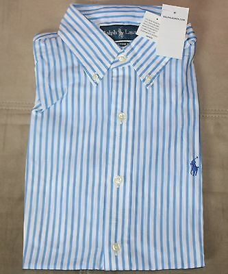 $69 New POLO Custom Button Front Dress Shirt MEDIUM M Light Blue Striped White