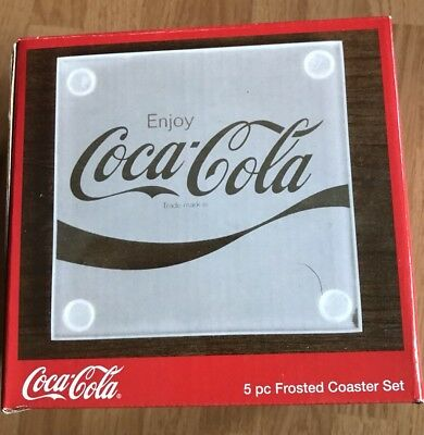 Coca Cola Coke 5 Pc Frosted Coaster Ser (4 Coasters And One Holder) New In Box