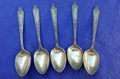 Old Vtg Antique Whiting Mfg. Co. Sterling Silver Demitasse Spoon Lot Set MH Mono
