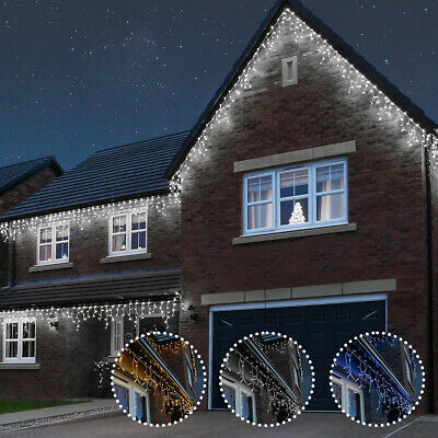 ConnectPro Outdoor Plug In Christmas LED Icicle Fairy Lights | Garden Home Party