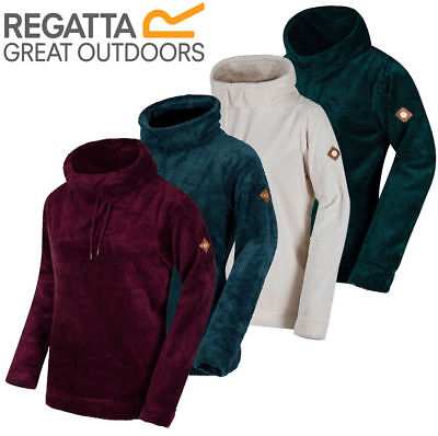 Regatta Womens Hermina Pullover Fleece Roll Neck Super Soft Grid Ladies Top