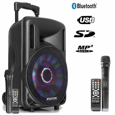 "Mobile Akku Box Sound Anlage ""FT10LED"" Funkmikrofon, LED, SD USB MP3, Bluetooth!"