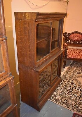 Antique Danner Oak 2 or 3 Section Stackable Bookcase Display Case Cabinet