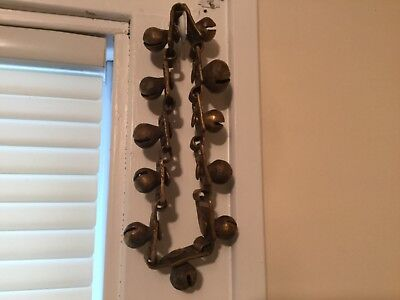 BRASS METAL COLLAR SLEIGH CARRIAGE HARNESS 11 BELLS STRAP Vtg Antique handmade