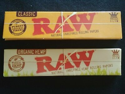 2 x Raw Classic Organic Hemp King Size Slim Rolling Papers Natural Variety 110mm