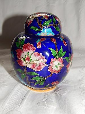 Vintage Japanese Foiled Cloisonne Ginger Jar ~Flowers & Butterflies Decor