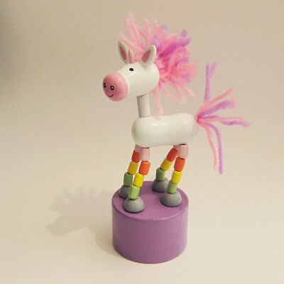Classic Wood Toy Push Puppet UNICORN Rainbow Legs Purple Base Yarn Hair and Tail