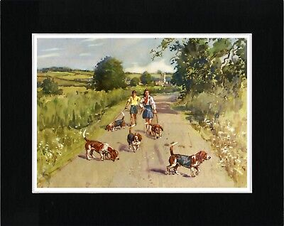 Basset Hound Children And Dogs Lovely Vintage Style Dog Art Print Ready Matted