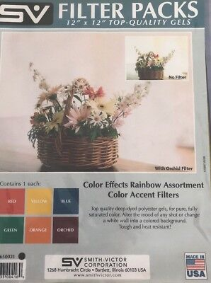 Smith-Victor Color Effects Rainbow Filter Pack with Six 12x12 Gel Filters.