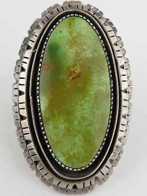 VINTAGE Large Native American Navajo Indian Green Turquoise Sterling Silver Ring