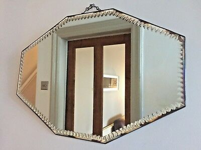 Vintage Frameless Bevelled Wall Mirror Lead Rim Art Deco Original Chain 51x36cm
